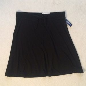 Black Drawstring Flare Skirt NWT